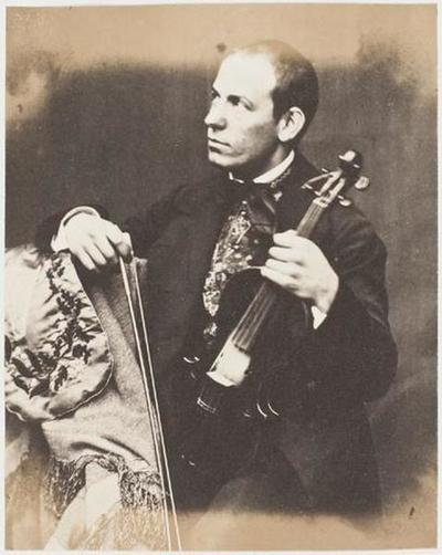 tirage photographique ; Le violoniste Remenyi, le regard vers la droite