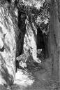 Vue générale du couloir taillé dans la falaise dominant la Siagnole ; on aperçoit les traces d'outil (La Roche-Taillée, Mons, Var).