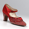 Pair of women's red satin, bead embroidered bar shoes