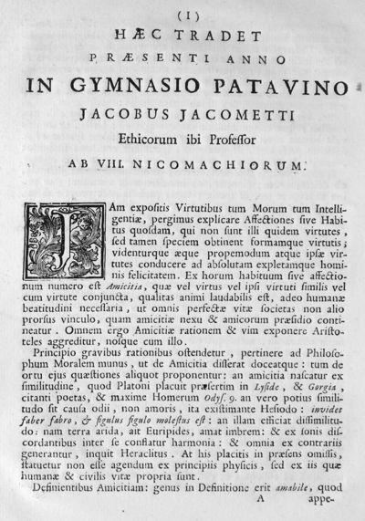 Haec tradet praesenti anno in Gymnasio Patavino Jacobus Jacometti Ethicorum ibi Professor ab 8. Nicomachiorum