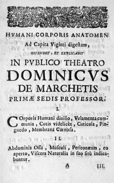 Humani corporis anatomen Ad Capita Viginti digestam, ostendet, et explicabit in publico theatro Dominicus de Marchetis primae sedis professor