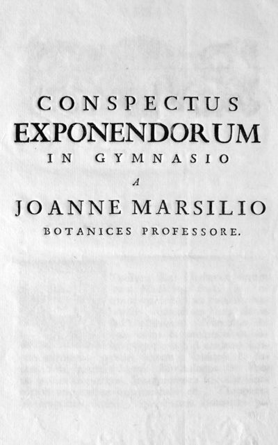 Conspectus exponendorum in gymnasio a Joanne Marsilio botanices professore.
