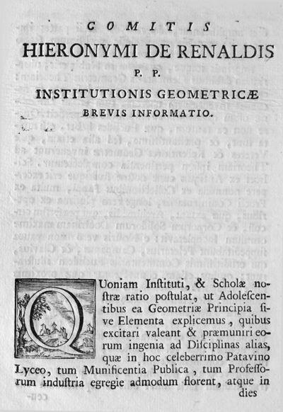 Comitis Hieronymi De Renaldis P.P. Institutionis geometricae brevis informatio