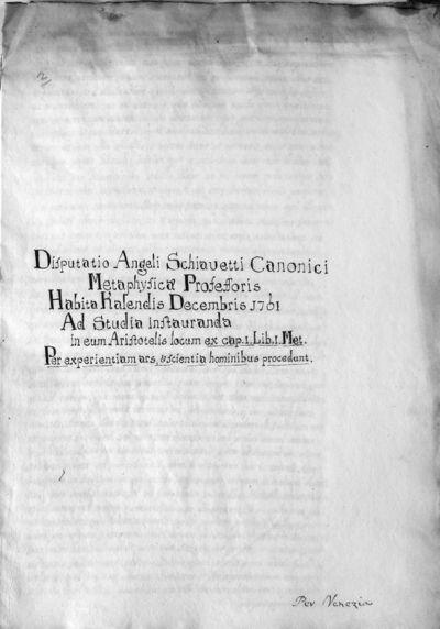 Disputatio in eum Aristotelis locum ex cap. 1 lib. I Metaphysicorum Per experientiam ars et scientia hominibus procedunt