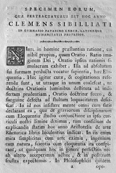 Specimen eorum, quae pertractaturus est hoc anno Clemens Sibilliati in Gymnasio Patavino graecae, latinaeque humanitatis professor.