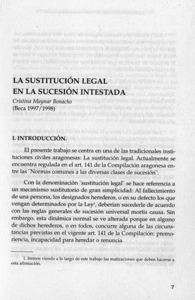 La sustitución legal en la sucesión inestada
