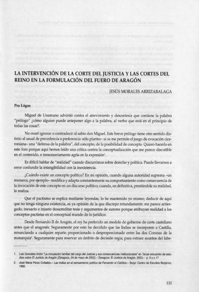 La intervención de la Corte del Justicia y las Cortes del Reino en la formulación del Fuero de Aragón