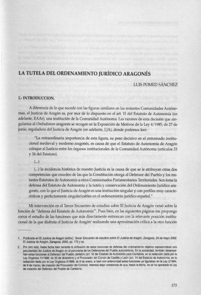 La tutela del ordenamiento jurídico aragonés