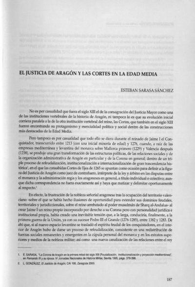 La Justicia de Aragón y las Cortes en la Edad Media
