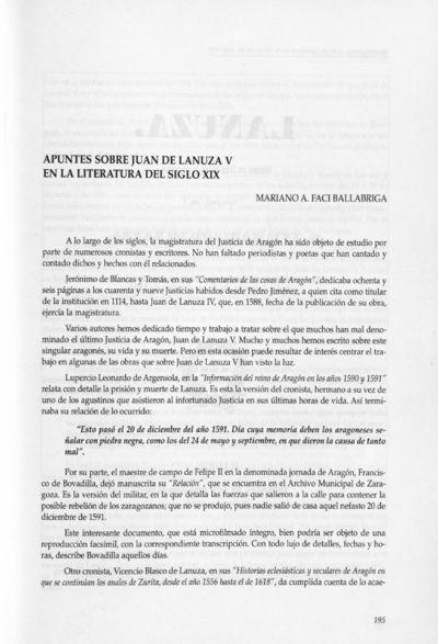 Apuntes sobre Juan de Lanuza V en la literatura del siglo XIX