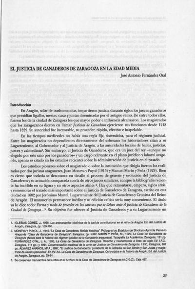 El Justicia de ganaderos de Zaragoza en la edad media