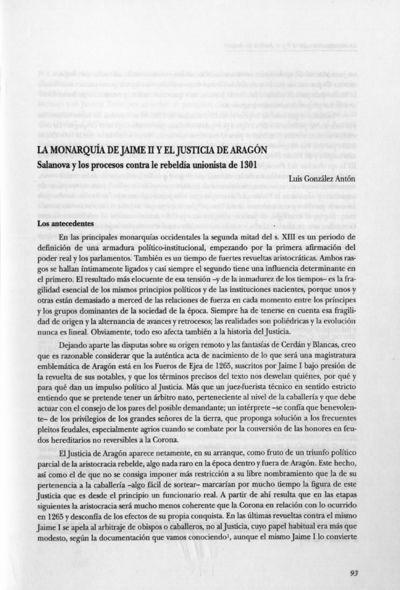 La monarquía de Jaime II y el Justicia de Aragón : Salanova y los procesos contra la rebeldía unionista de 1301