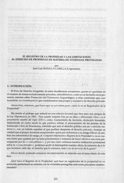 El registro de la Propiedad y las limitaciones al derecho de propiedad en materia de viviendas protegidas