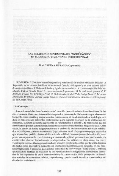 Las relaciones sentimentales more uxorio en el Derecho civil y en el Derecho penal