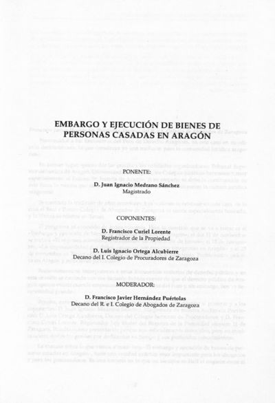 Embargo y ejecución de bienes de personas casadas en Aragón