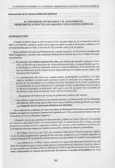 El desamparo de menores y el acogimiento. : Problématica práctica en Aragón y soluciones jurídicas