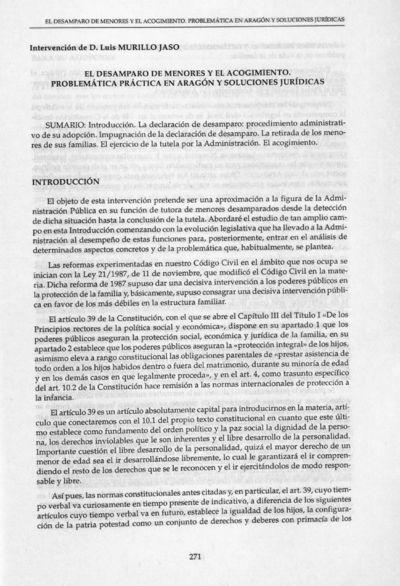 El desamparo de menores y el acogimiento. : Problemática práctica en Aragón y soluciones jurídicas