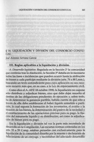 Liquidación y división del consorcio conyugal