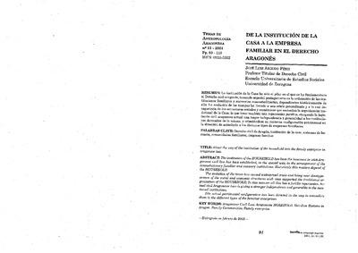 De la institución de la casa a la empresa familiar en el Derecho Aragonés