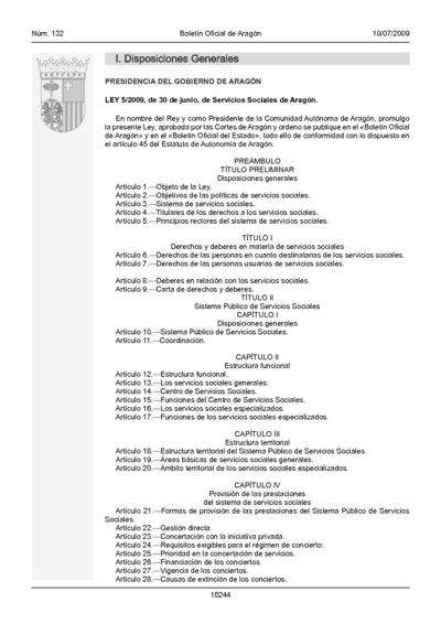Ley 5/2009, de 30 de junio, de Servicios Sociales de Aragón