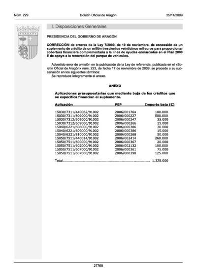 Correción de errores de la Ley 07/2009, de 10 de noviembre, de concesión de un suplemento de crédito de un millón trescientos veinticinco mil euros para proporcionar cobertura financiera complementaria a la línea de ayudas enmarcadas en el Plan 2000 E de apoyo a la renovación del parque de vehículos
