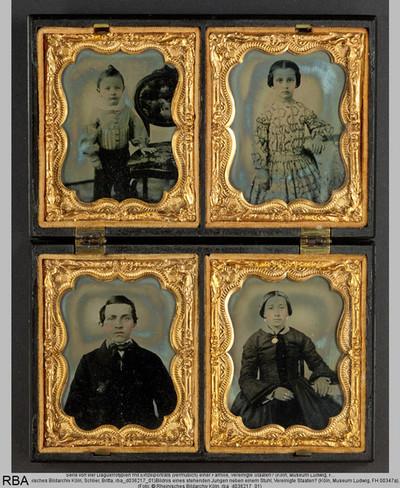 Serie von vier Daguerrotypien mit Einzelporträts (vermutlich) einer Familie