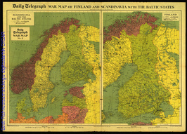 Daily Telegraph war map of Finland and Scandinavia with the Baltic states