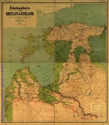 Schulwandkarte von Ehst-, Liv und Kurland