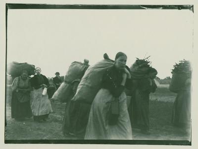 Gruppe von Reisigsammlerinnen vor der Westend-Kolonie auf dem Heimweg