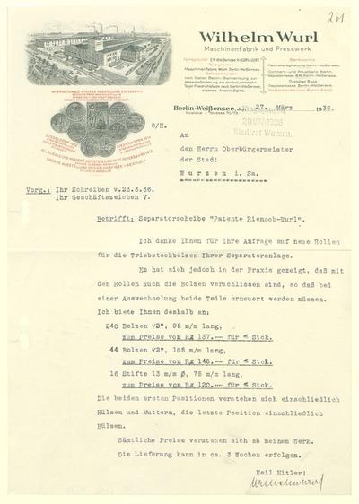 Angebot von Wilhelm Wurl für Bolzen und Stifte an den Oberbürgermeister der Stadt Wurzen .i. Sa.