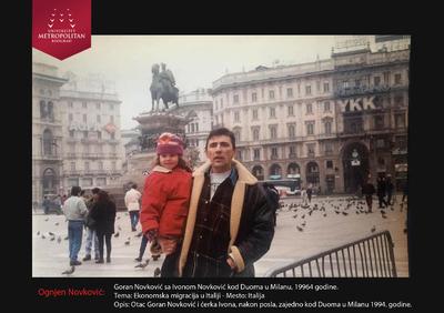 Goran Novković nakon posla sa ćerkom Ivonom, Milano, Italija, 1994