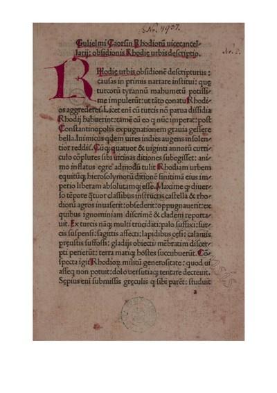 Obsidionis Rhodiae urbis descriptio
