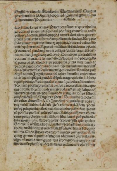 Ad Innocentius papam VIII oratio