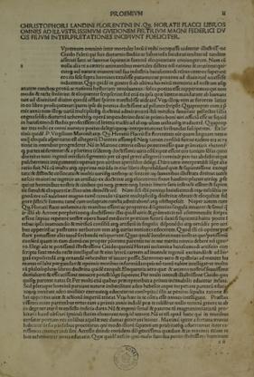 Horatius Flaccus, Opera cum interpretatione Christophori Landini