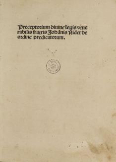 Praeceptorium Divinae Legis sive Expositio Decalogi