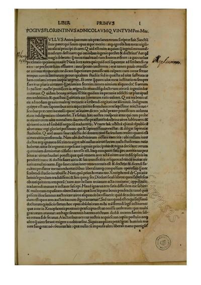 Bibliothecae Historicae lib. VI (versis G.F. Poggii Bracciolini)