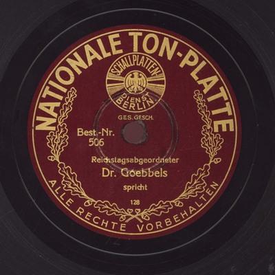 Reichstagsabgeordneter Dr. Goebbels spricht