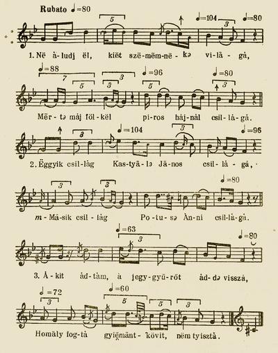 Notes of 'Ne aludj el, két szememnek világa (Day-break-call)'- Bartók Béla and Kodály Zoltán (ed.). Magyar Népzene Tára (Corpus Musicae Popularis Hungaricae) Vol III/A. Budapest: Akadémiai Kiadó, 1955. 15.