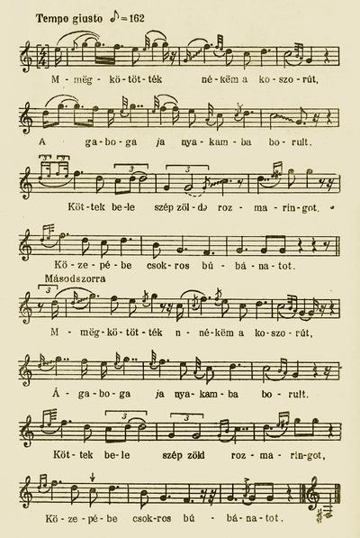 Notes of 'Megkötötték nékem a koszorút - Wreathing the bride'- Bartók Béla and Kodály Zoltán (ed.). Magyar Népzene Tára (Corpus Musicae Popularis Hungaricae) Vol III/A. Budapest: Akadémiai Kiadó, 1955. 119-120.