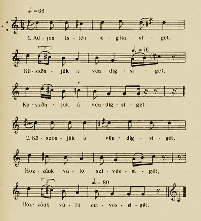 Notes of 'Adjon Isten egisséget - Guests' farewell song' - Bartók Béla and Kodály Zoltán (ed.). Magyar Népzene Tára (Corpus Musicae Popularis Hungaricae) Vol III/A. Budapest: Akadémiai Kiadó, 1955. 175.