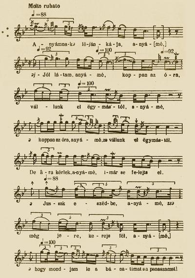 Notes of 'Anyámnak leánykája (Brides lament)' - Bartók Béla and Kodály Zoltán (ed.). Magyar Népzene Tára (Corpus Musicae Popularis Hungaricae) Vol III/A. Budapest: Akadémiai Kiadó, 1955. 324-329.