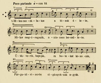 Notes of 'Milyen csodálatos a lónak élete - Requiem for the old horse'- Bartók Béla and Kodály Zoltán (ed.). Magyar Népzene Tára (Corpus Musicae Popularis Hungaricae) Vol III/B. Budapest: Akadémiai Kiadó, 1956. 92-93.