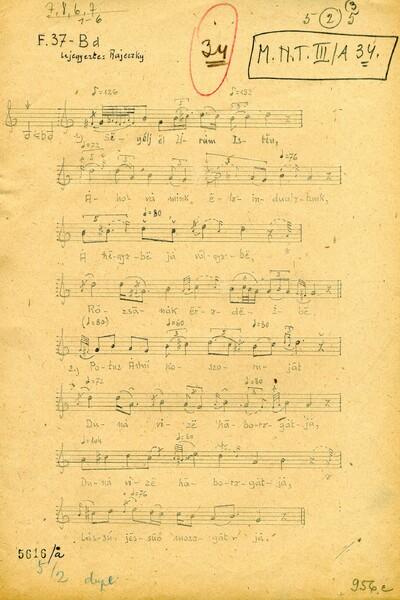 Original notes of 'Segélj el, Uram Isten  (Gathering of evergreen)' Page 1 - ZTI_Lsz_5616a