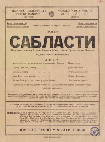 Сабласти  : породична драма у 3 чина : први пут : четвртак 21 априла 1932 год.
