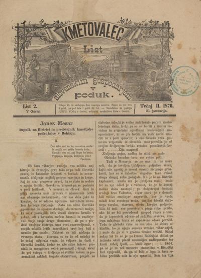 Kmetovalec: list slovenskim gospodarjem v poduk 1876 01 31