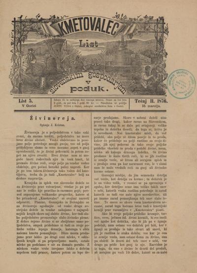 Kmetovalec: list slovenskim gospodarjem v poduk 1876 03 15