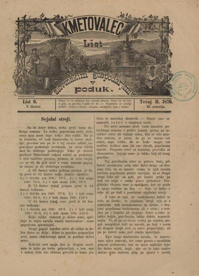 Kmetovalec: list slovenskim gospodarjem v poduk 1876 03 31