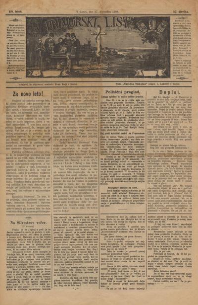 Primorski list: poučljiv list za slovensko ljudstvo na Primorskem 1906 12 27