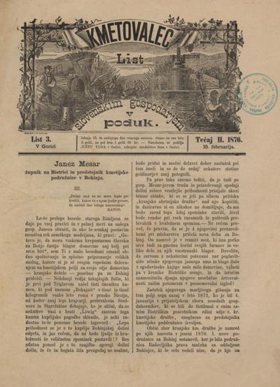 Kmetovalec: list slovenskim gospodarjem v poduk 1876 02 15