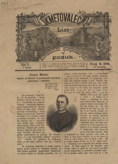 Kmetovalec: list slovenskim gospodarjem v poduk 1876 01 13